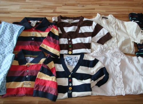 Forever 21 shirts are top row, and Trovata shirts are bottom row